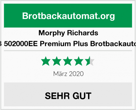 Morphy Richards Weiß 502000EE Premium Plus Brotbackautomat Test