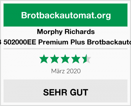Morphy Richards Weiß 502000EE Premium Plus Brotbackautomat Test